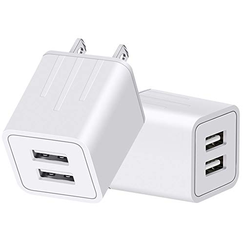 YOKERSU Wall Charger Portable Dual USB Travel Charger Universal Fast Charging Adapter AC Power Plug Compatible with Phone X/8/7/6/6S/Plus/SE/5S 2-Pack ()