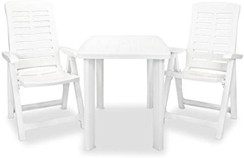 Festnight Conjunto de Jardín de Muebles de Comedor Plegable de Plástico Blanco, 1 Mesa y 2 Sillas 101x68x72cm: Amazon.es: Hogar