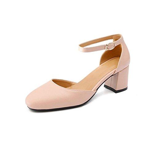 Sandalias Mujer/Sandalia con Pulsera para Mujer/En el Verano Sandalias con un encabezado de Paquete Cuadrado con Zapatos de Mujer Pink