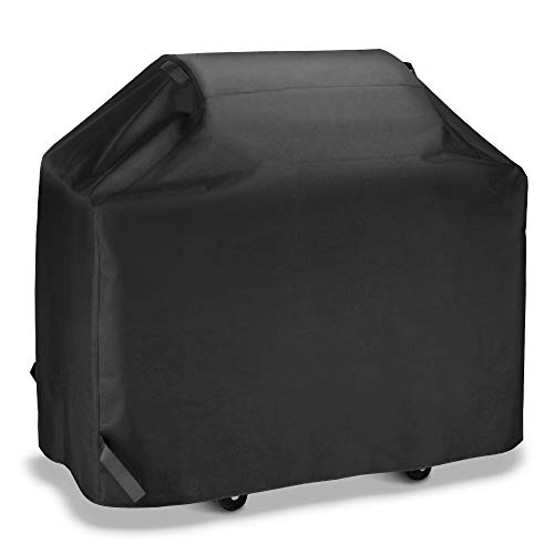iDepot Gas Grill Cover 53 Inch, Heavy Duty Outdoor Barbecue Charcoal Grill Cover, UV Resistant and Waterproof, All Weather Protection for Weber Char-Broil Nexgrill and More, Black