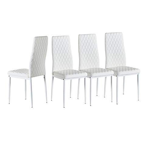 Future Set of 4 Leather Dining Chairs Set, with Upholstered Cushion & High Back, Powder Coated Metal Legs, Rhombus Pattern Seats, Household Home Kitchen Living Room Bedroom (White)