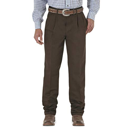 Wrangler Men's Riata Pleated Relaxed Fit Casual Pant, Dark Brown, 38x32 ()