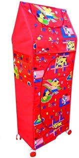 HOUZIE Multipurpose Red Toy Box/Almirah   6 Shelves Collapsible Wardrobe