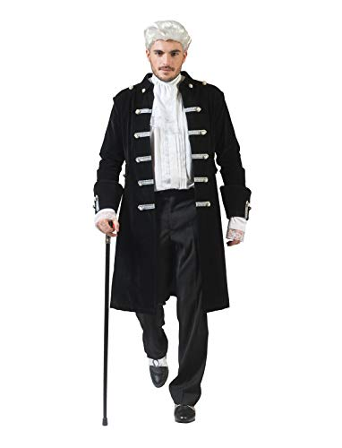 Adult Mens Historical Baroque Victor Black Coat Halloween Costume Accessory]()