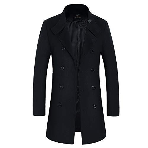 - HXW.GJQ Men's Stylish Wool Blend Double Breasted Long Pea Coat (Black, Medium)
