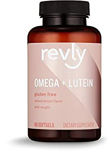 Amazon Brand - Revly Omega + Lutein, Wild-caught fish oil, 60 Softgels, 1 Month Supply