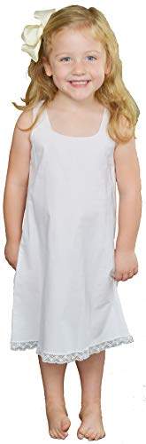 Girls Cotton Slip Sleeveless with bottom lace trim Handmade,White,3