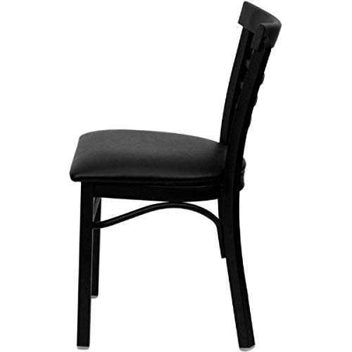 Modern Style Metal Dining Chairs School Bar Restaurant Commercial Seats Ladder Back Design Black Powder Coated Frame Finish Home Office Furniture - (1) Black Vinyl Seat #2153