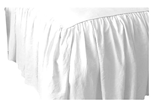Extra Drop Length 18 Inches Egyptian Cotton Split Corner Gathered Dust Ruffle Bed Skirts for Bed with Foot-Board or Bed Posts King Solid Thread Count 650 White