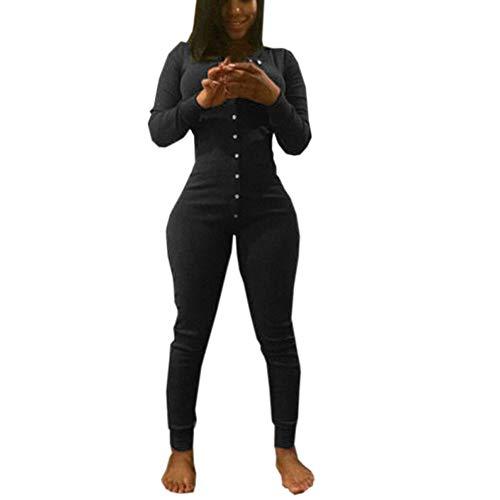 ysuit Long Sleeve Button V Neck Party Clubwear Jumpsuit (Black, M) ()
