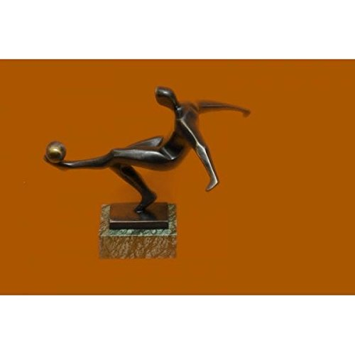 Admirable Modernist Bronze Sculpture of Soccer Player by Mario Nick Royal for Copenhagen by EUROPEAN BRONZE
