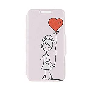 QJM Kinston Balloon Lovers Pattern PU Leather Full Body Case with Stand for iPhone 5/5S