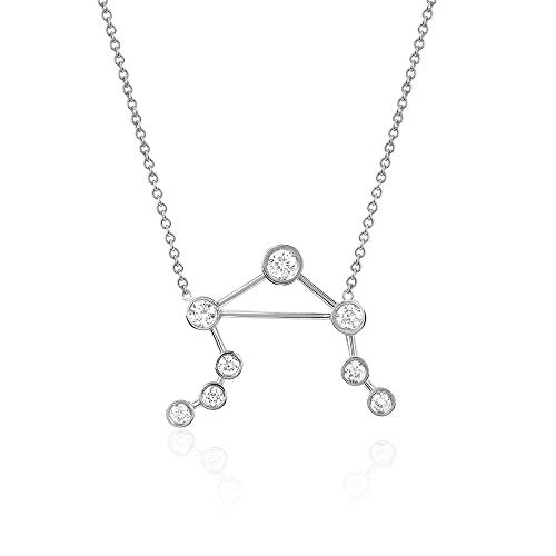 espere Sterling Silver Zodiac Necklace Constellation Jewelry Birthday Gift Sorority Sister Gift [Libra - Sep 23 - Oct 22] (Best Sign For Libra)