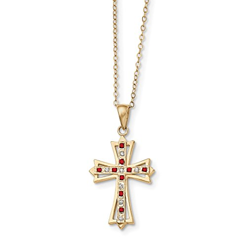 (925 Sterling Silver Diamond Mystique Gold Plated Red Ruby 18 Inch Cro925 Chain Necklace Pendant Charm Cross Crucifix Fine Jewelry For Women Gift Set)