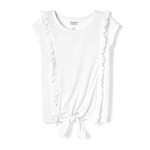French Toast Girls' Big Short Sleeve Ruffle Tie Front Tee Shirt, White, M (7/8)