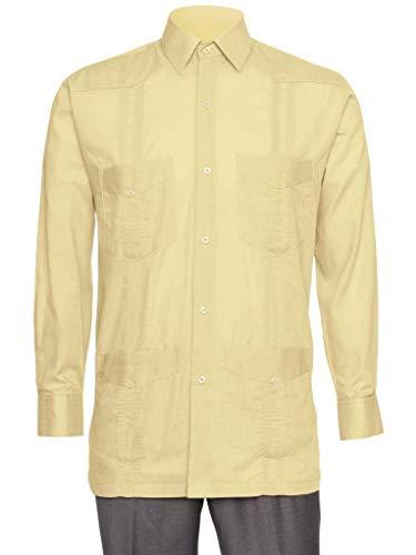 Gentlemens Collection Mens Linen Look Guayabera Shirt - Long Sleeve Cuban Shirt Honey X-Large