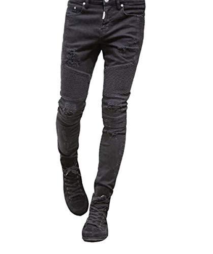 Uomo Giovane Fashion Stretch Yasminey Mens Allo Skinny Nero Jeans Denim Fessura Pantaloni Strappo Design Ginocchio Distressed PIqw17IOxT