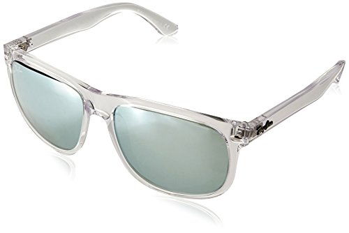 Ray-Ban RB4147 Boyfriend Square Sunglasses, Transparent/Green Silver Mirror, 56 mm