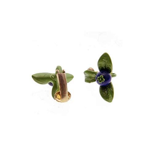 Fashion Earrings Jewelry Blueberry Green Leaves Natural Bluestone Vintage Earring,Ear Clip