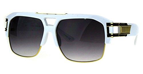 Gazelle B-Boy Square Metal & Plastic Retro Aviator Sunglasses (White & Gold Frame, - Sunglasses Gold White And