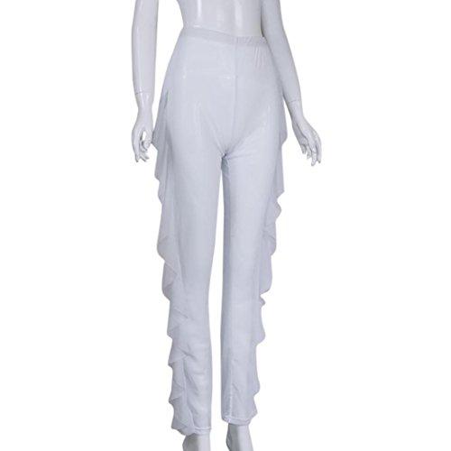 Fami Bikini 1 Up trasparente Sheer Mesh Swimwear lungo Pantalone Womens Beach Cover Bianca qI7wrnaqp