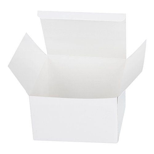 LaRibbons 20Pcs Recycled Gift Boxes - 5 x 5 x 3 inches White Paper Box Kraft Cardboard Boxes with Lids for Party, Wedding, Gift Wrap