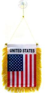 AZ FLAG United States Mini Banner 6'' x 4'' - USA - US - American Pennant 15 x 10 cm - Mini Banners 4x6 inch Suction Cup Hanger