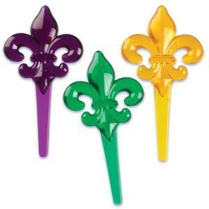Transluscent Mardi Gras Fleur de Lis Picks (48-Pack) ()