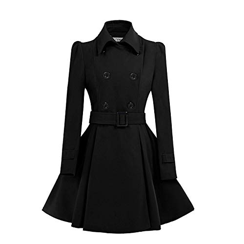ForeMode Women Swing Double Breasted Wool Pea Coat with Belt Buckle Spring Mid-Long Long Sleeve Lapel Dresses Outwear(Black3,Large