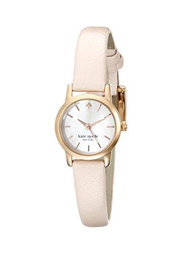 kate spade new york Women's 1YRU0829 Tiny Gold-Tone Watch with Pink Leather Strap