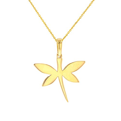 High Polish 14K Yellow Gold Dragonfly Charm Pendant Necklace, 18