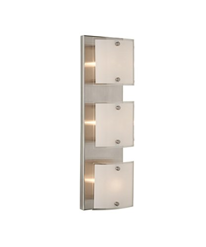 (Artcraft Lighting Brentwood Modern Contemporary 3-Light Bathroom Light, Brushed Nickel With Frosted Glass Shade)