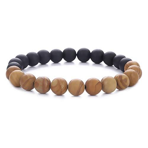 Xington Bracelet - Black Onyx & Tiger Eye, Gemstone, Yoga, Men, Women, Chakra, Meditation, Spiritual Awakening, Handmade, Charm, Beads ()