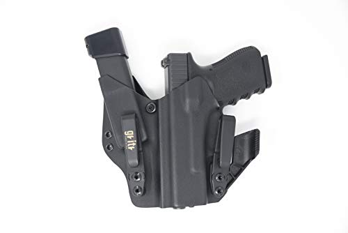 Gritr Holsters with Magazine Holder, Universal Holster for Glock 17, 19, 22, 23, 26, 27, 31, 32, 33 (Gen 1-5) - Made in USA, KYDEX, Inside The Waistband - IWB Holster, Left Hand