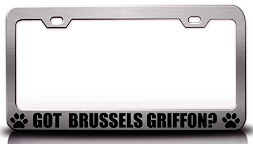 Customola - GOT Brussels Griffon Pet Steel Metal License Plate Frame Ch