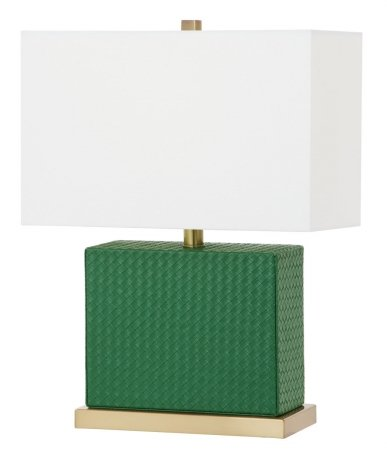 Safavieh Lighting Collection Delia Faux Woven Leather Dark Green 20.5-inch Table Lamp ()