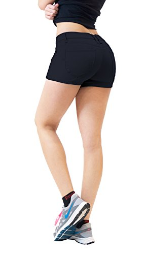 Womens Butt lifting Twill Denim Shorts SH43308 NAVY 5