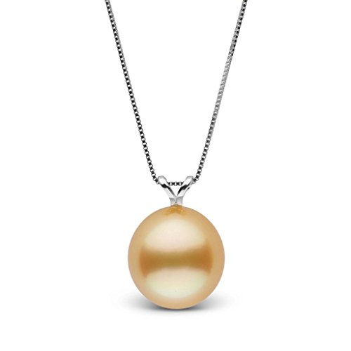 Unity Collection Drop Golden 10.0-11.0 mm South Sea Cultured Pearl Pendant - White Gold - 16 Inch