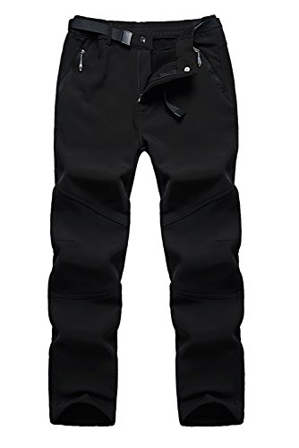 Anlamb Men's Outdoor Waterproof Windproof Fleece Cargo Snow Ski Hiking Pants US1613M Black M