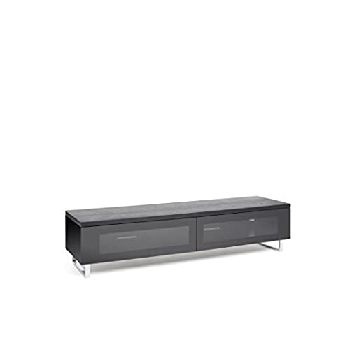 TECHLINK Panorama TV Stand with High Gloss Base with Top Panel and Chrome  Feet for Screens Up to 80-Inch, Black