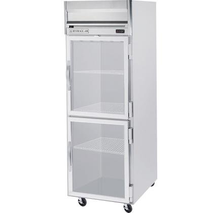 Beverage-Air HRP1-1HG Horizon Series One Section Glass Half Door Reach-In Refrigerator 24 cu.ft. capacity Stainless Steel Front and Sides Aluminum