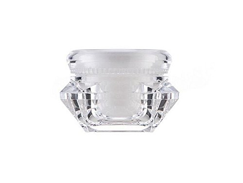 0.5 Ounce Square Glass (6PCS 15ml 0.5oz Empty Upscale Refillable Clear Acrylic Cream Lotion Sample Jar Pot Containers with Liners and Screw Lid Square Diamond Shape Cosmetic Bottle Holder for Eye Shadow Nail Powder)