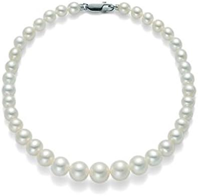 Bracciale di perle Miluna 5-5,5 con chiusura in oro bianco 18kt