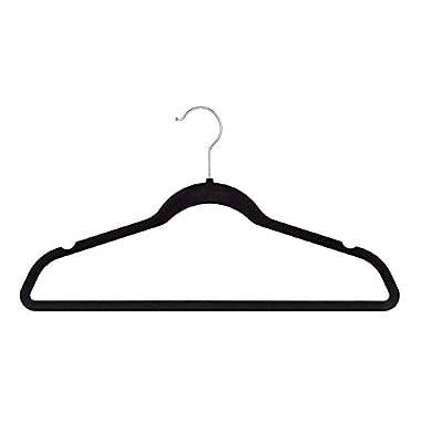 Jeronic Ultra Thin Non-Slip Velvet  Clothes Hanger, Pack of 50, Black