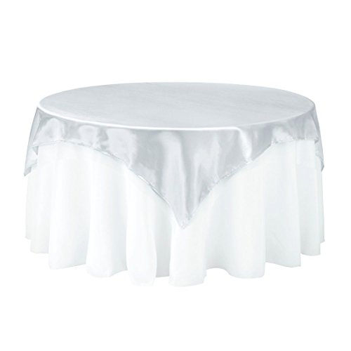 Silver Overlay - LinenTablecloth 72-Inch Square Satin Overlay Silver