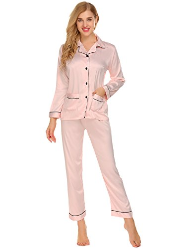 Lomon Silk Sleepwear Sets For Women Long Sleeve Pajama Lounge With Long Pant Button PJ