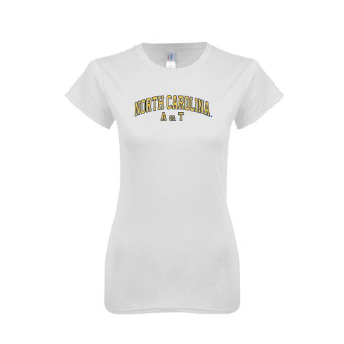 North Carolina A&T Next Level Ladies SoftStyle Junior Fitted White Tee 'Arched North Carolina A&T'