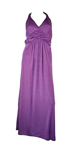 Belle Donne Women's Solid Color Front Design Halter Top Dress-Purple/L