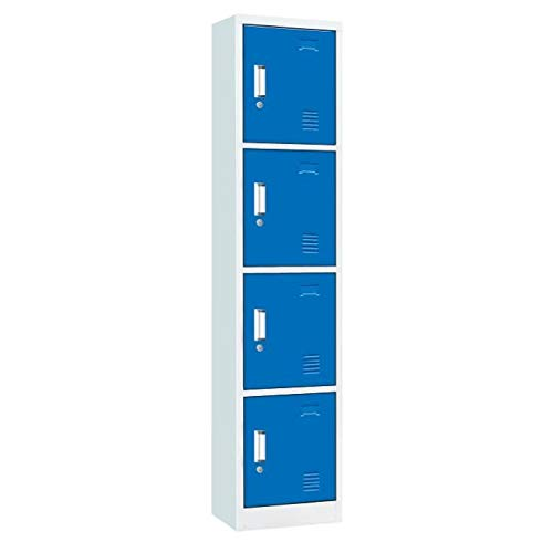 Racking Solutions 4 Door Metal Storage Lockers, blueee & Grey Steel Lockable Unit, Staff Gym School Changing 1850mm H x 380mm W x 450mm D