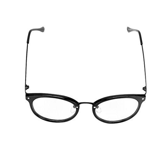 Voyage Acier à UV Protection Maquillage Monture Oculaire Ovale Rétro Anti Léger Lunette Soleil Transparent Brilant lunette Noir de Plastique en Mode Unisex Rayonnement Lecture 6Szpqnxww